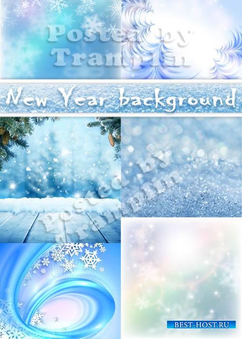 Новогодние фоны со снежинками и эффектом боке