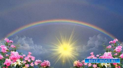 Футаж с солнцем и радугой