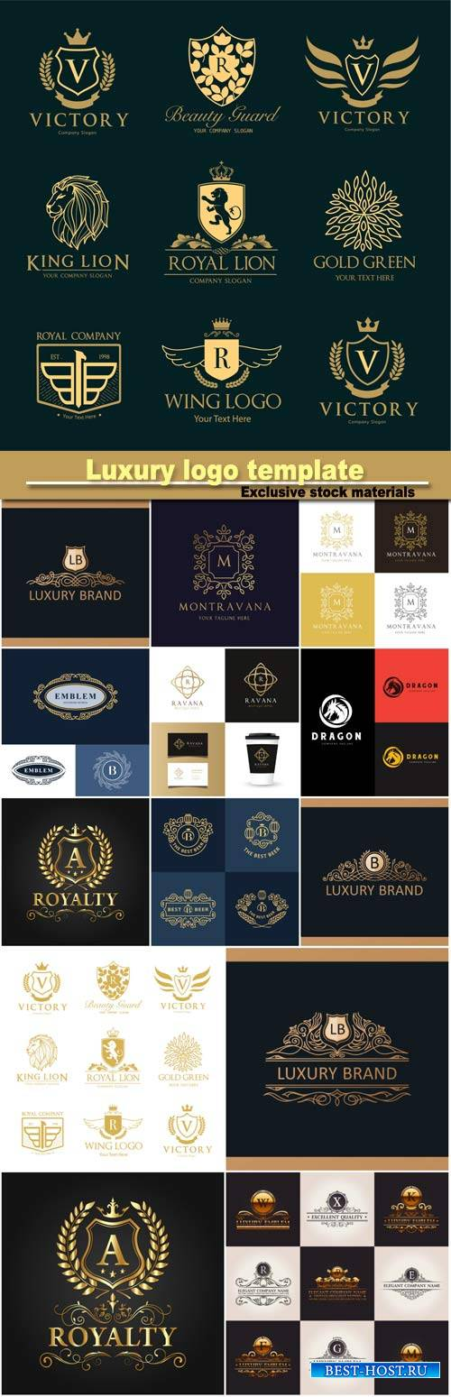 Luxury logo template, elegant emblem, royal logo design, vintage vector sym ...