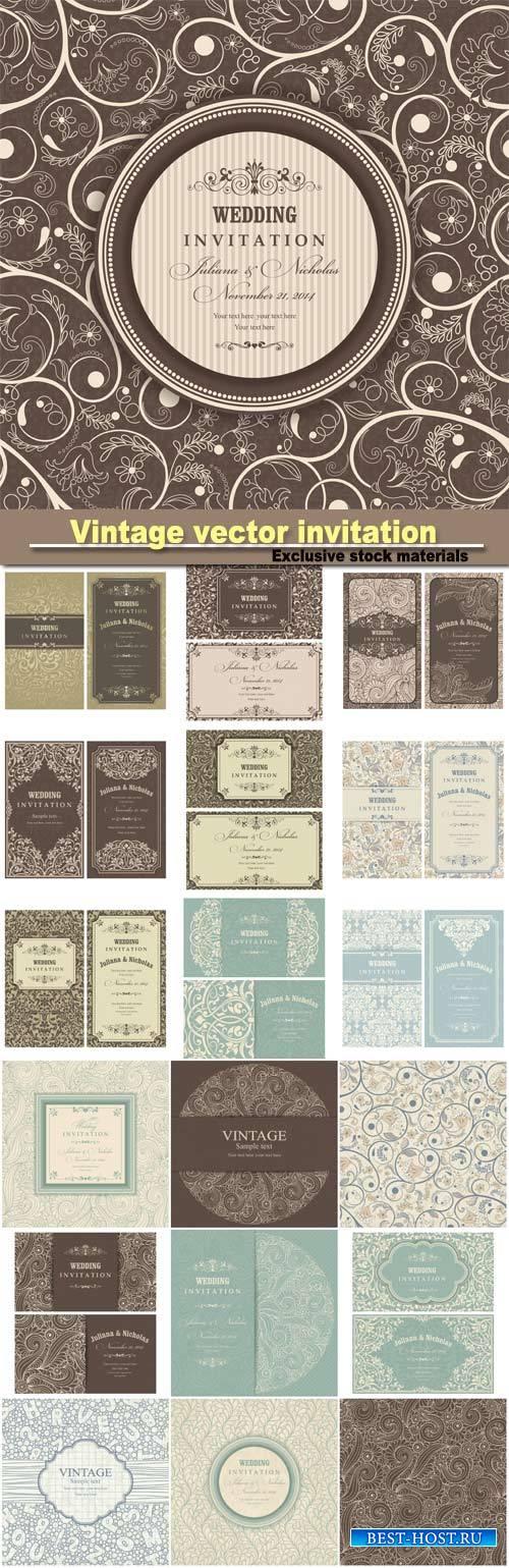 Vintage invitation, vector background, seamless texture