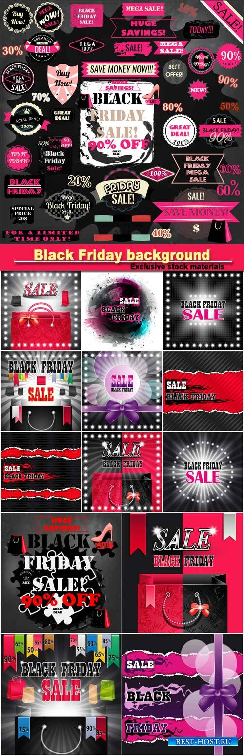 Vector set of Black Friday background and labels and ribbons