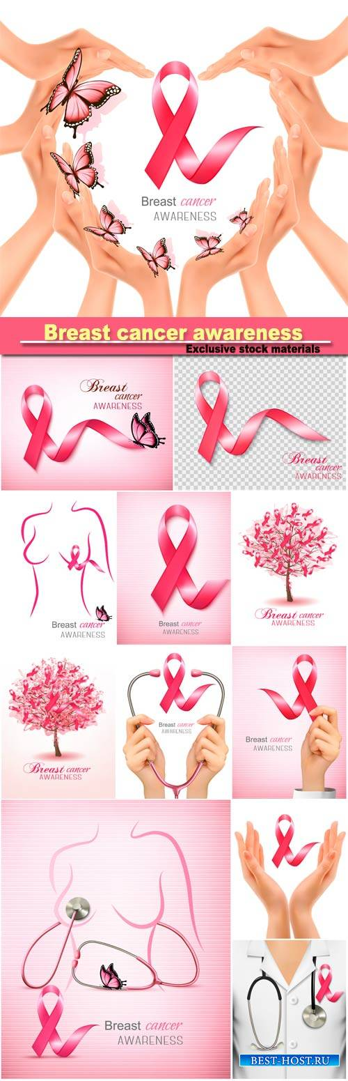 Breast cancer awareness ribbon on a pink background