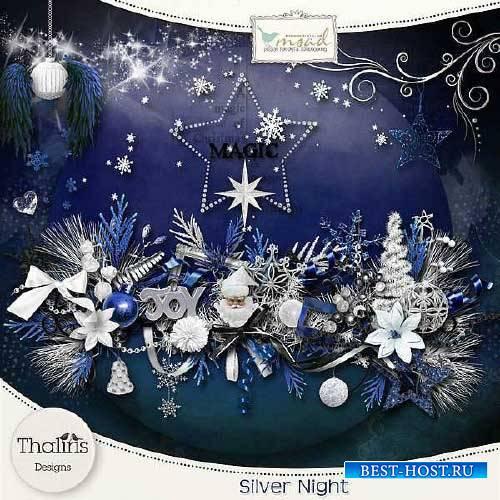 Рождественнский скрап-набор - Серебряная ночь