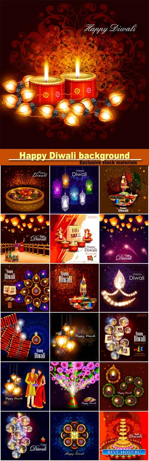 Happy Diwali vector background, India festival