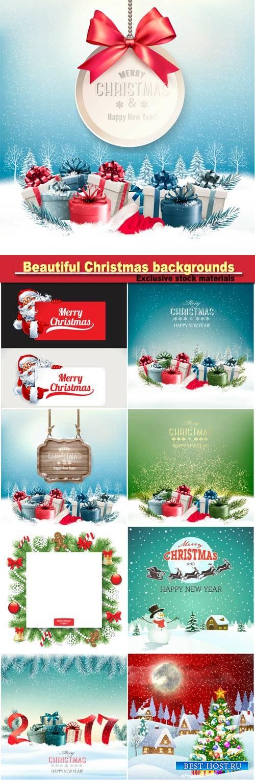 Beautiful Christmas backgrounds, sparkling elements, snowflakes, snowman