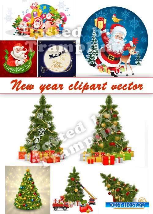 Новый год клипарт вектор - Дед Мороз и елки