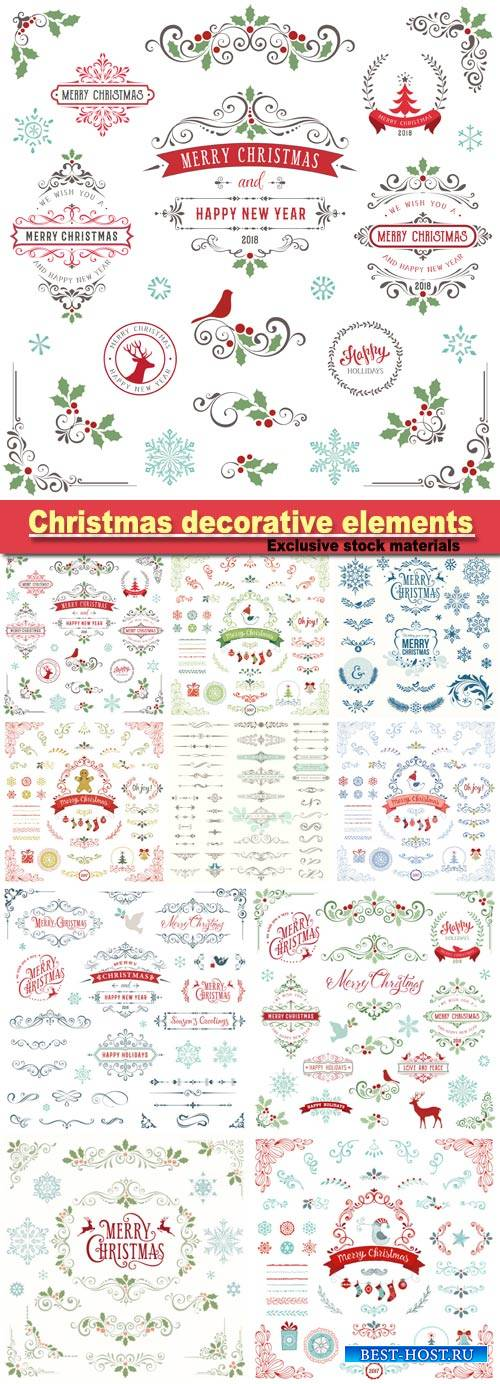 Christmas decorative elements, vector design elements