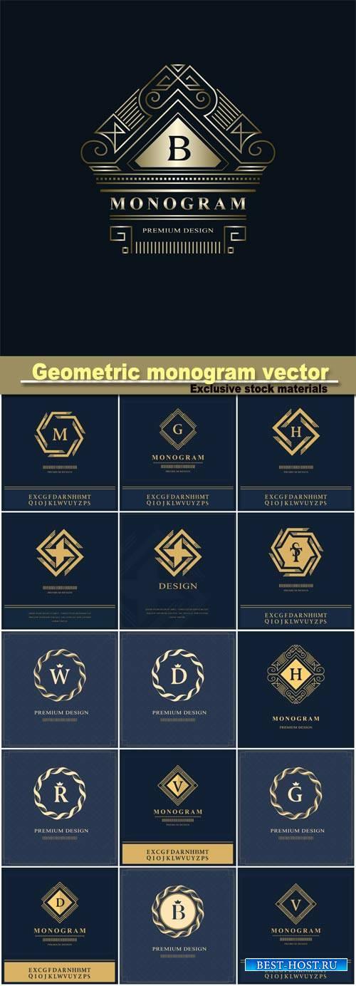 Geometric monogram logo vector