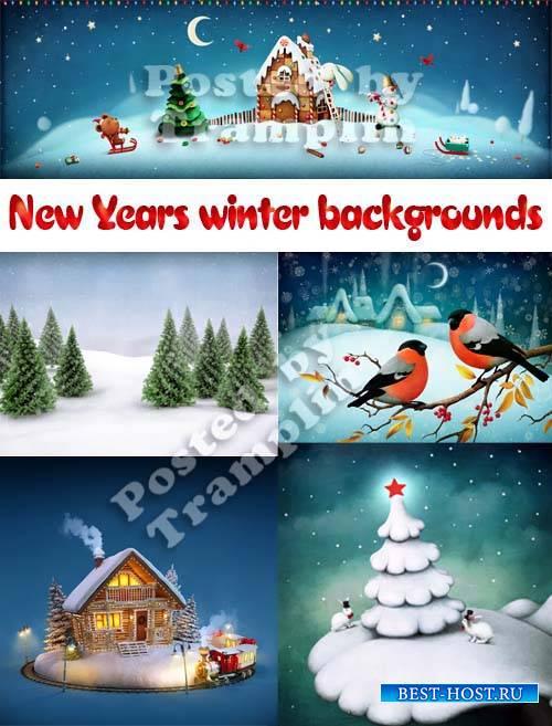 Зимние фоны - Ночь, снег, Новый год