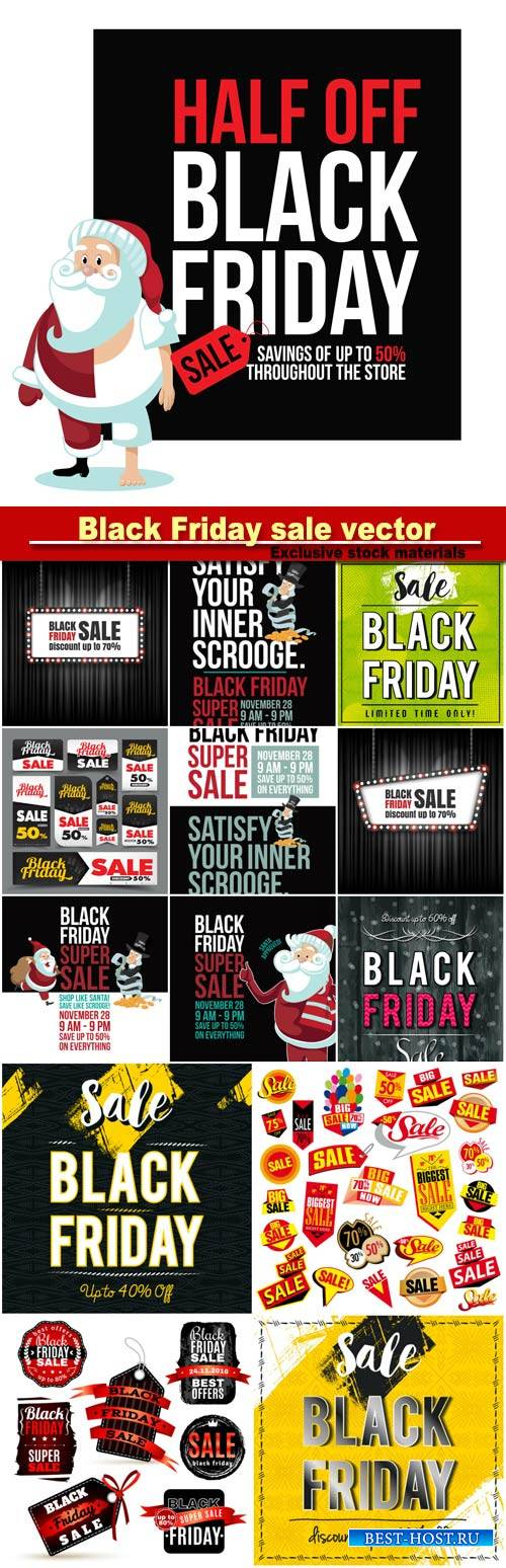 Black Friday sale vector background, labels set for special offers promotions discounts