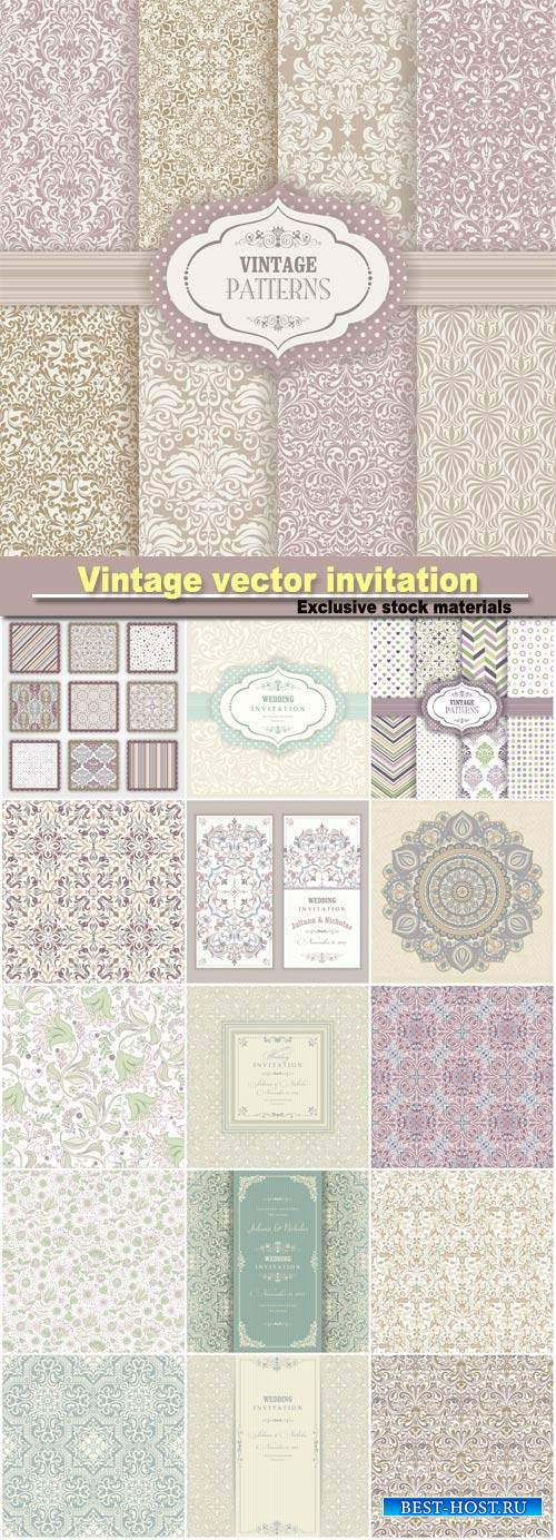 Vintage vector invitation with patterns, seamless textures