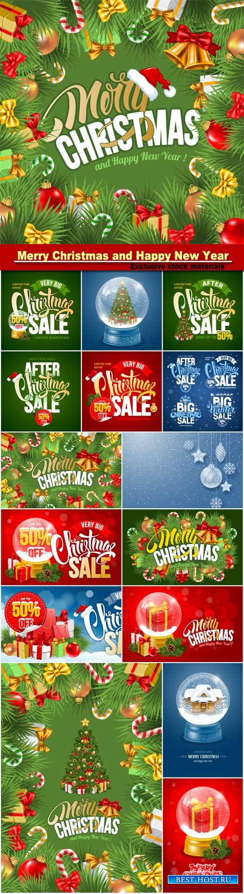 Christmas greeting card, sale design template