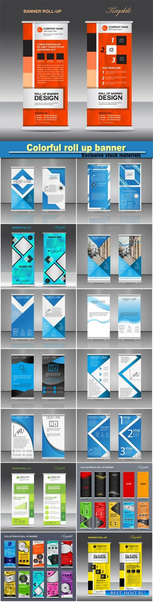 Collection of colorful roll up banner design stand template