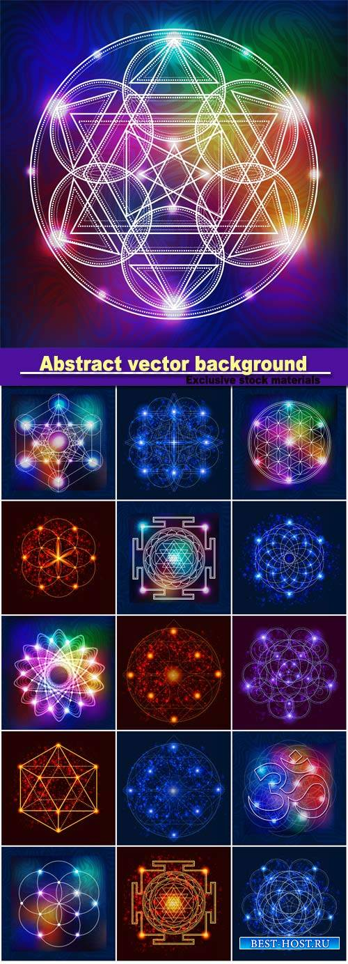 Abstract vector background with consecrated symbols of sacred geometry