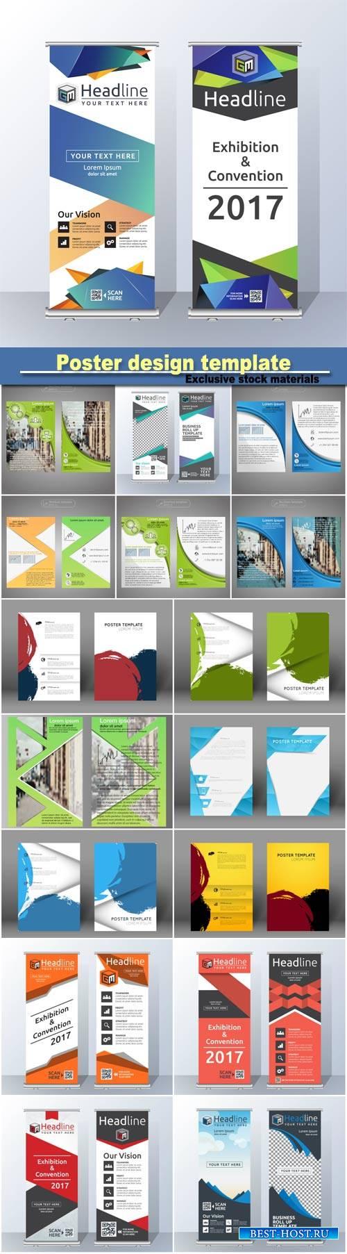Poster design template, roll up banner template design