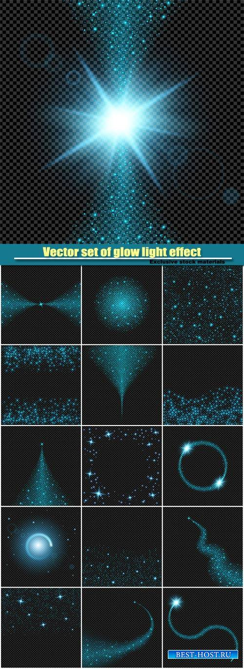 Vector set of glow light effect stars on black background