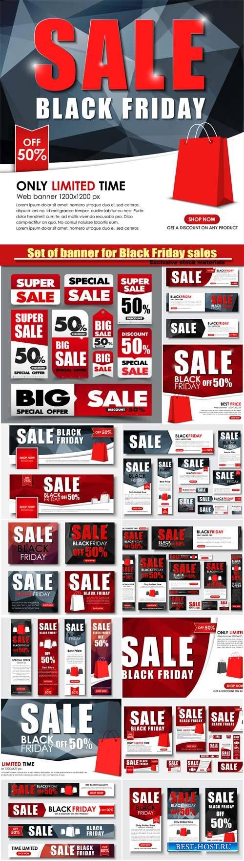 Set of web banner for Black Friday sales