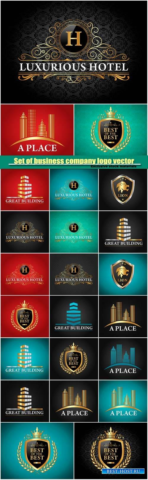 Set of golden luxurious logo vector