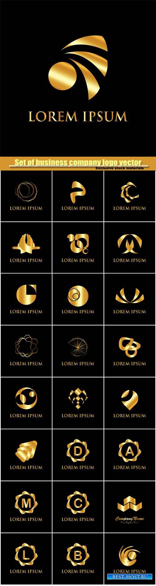 Set of golden business company logo vector