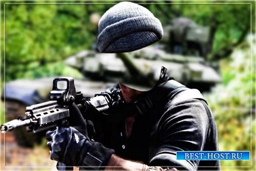 Фотошаблон - Солдат возле танка