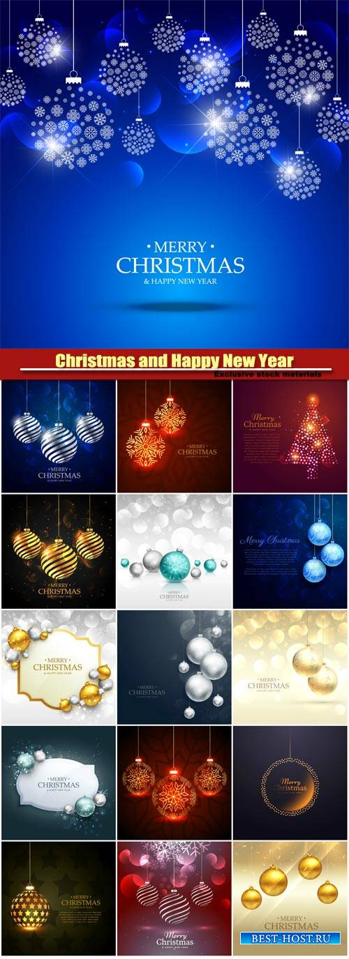 Merry christmas greeting card template with gold and silver christmas balls