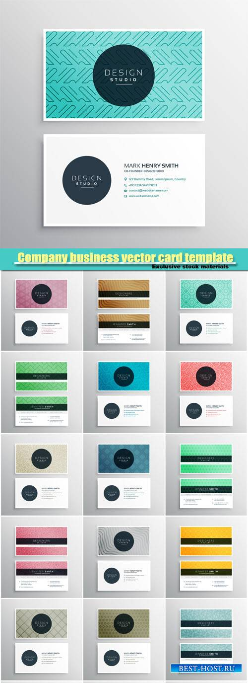 Company business vector card template with geometric shapes