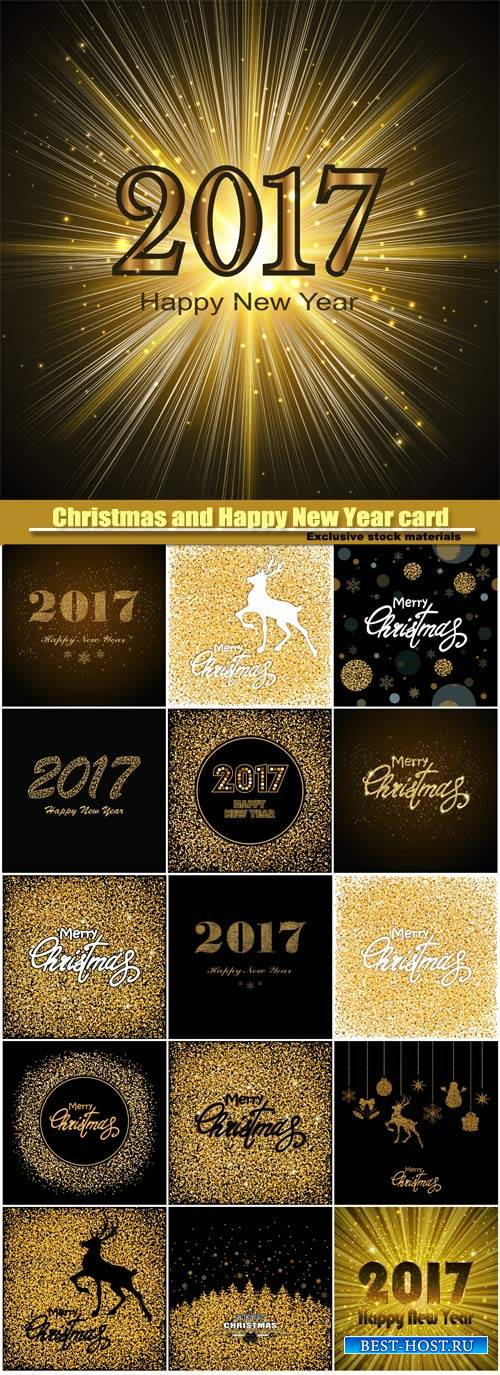 Christmas and Happy New Year golden background