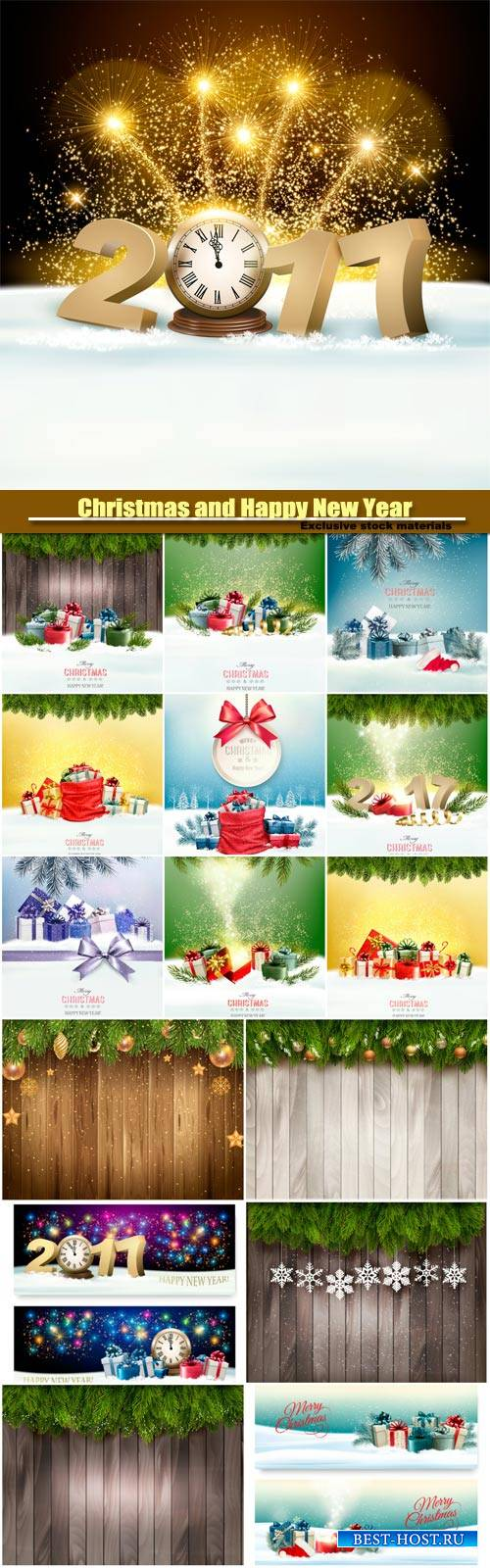 Christmas and Happy New Year background with 2017, presents with a gift car ...
