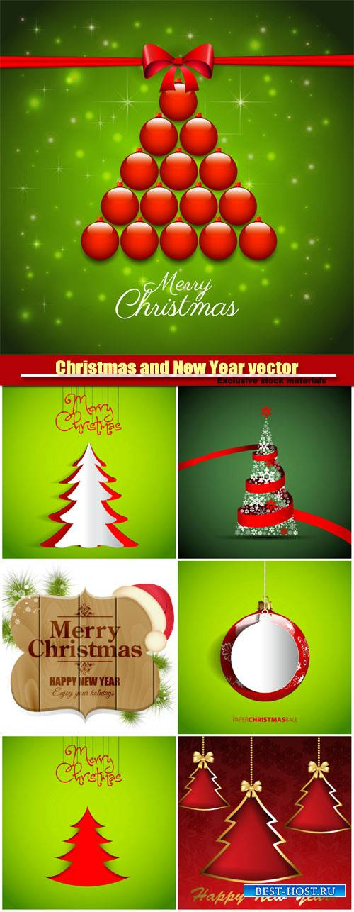 Christmas and Happy New Year, vector holiday backgrounds #3