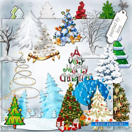 Клипарт - Новогодние елки и зимние деревья