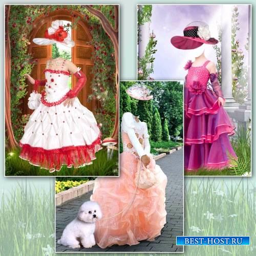Шаблоны для фотошопа – Девочки в пышных платьях