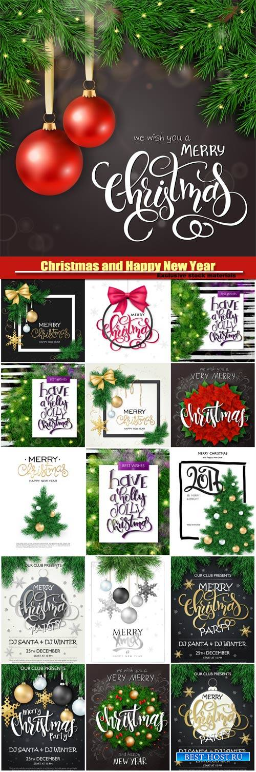 Vector christmas backgrounds, holiday ornaments and stars