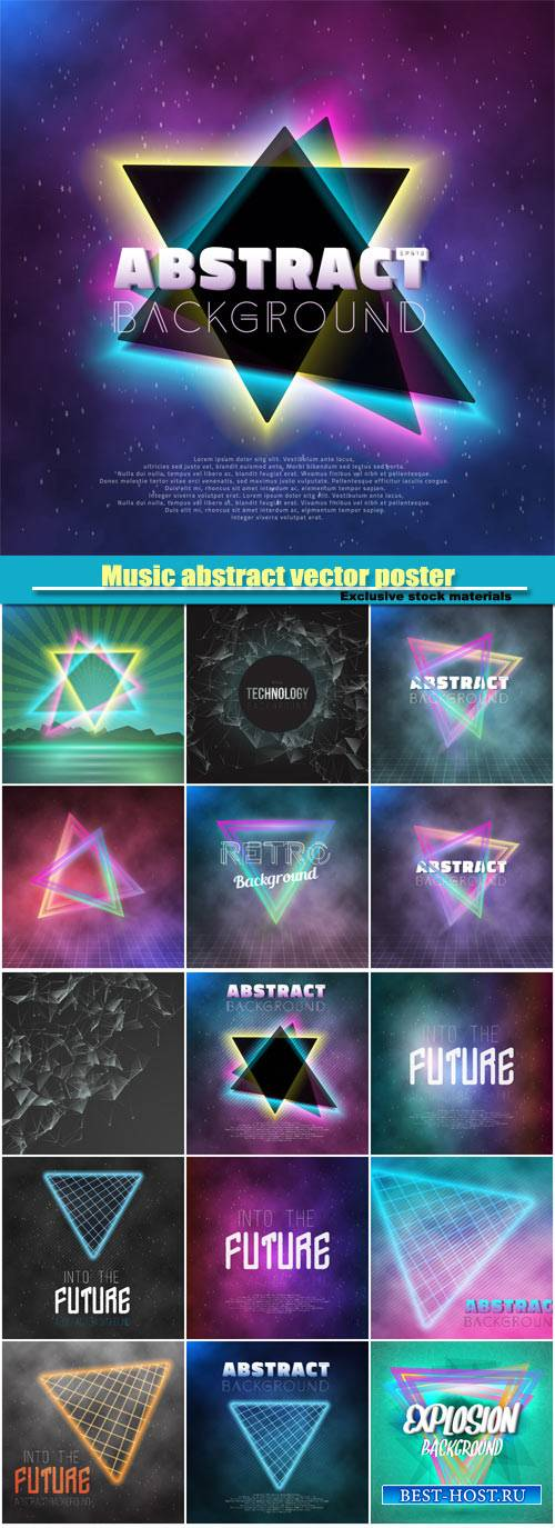 Music abstract vector poster, neon retro disco template