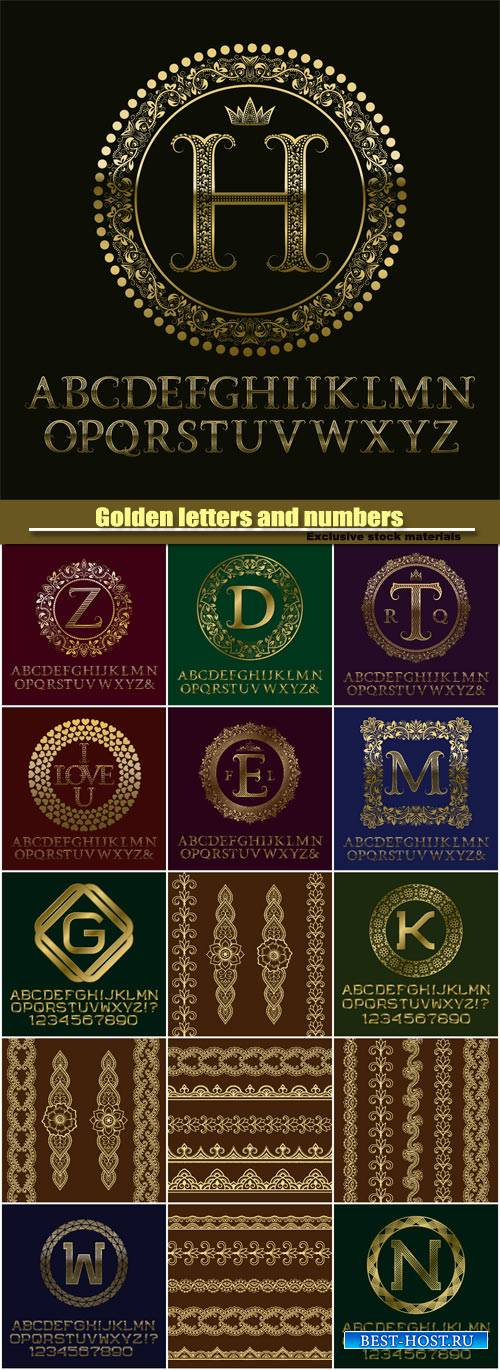 Golden letters and numbers with initial monogram, logo design, english alph ...