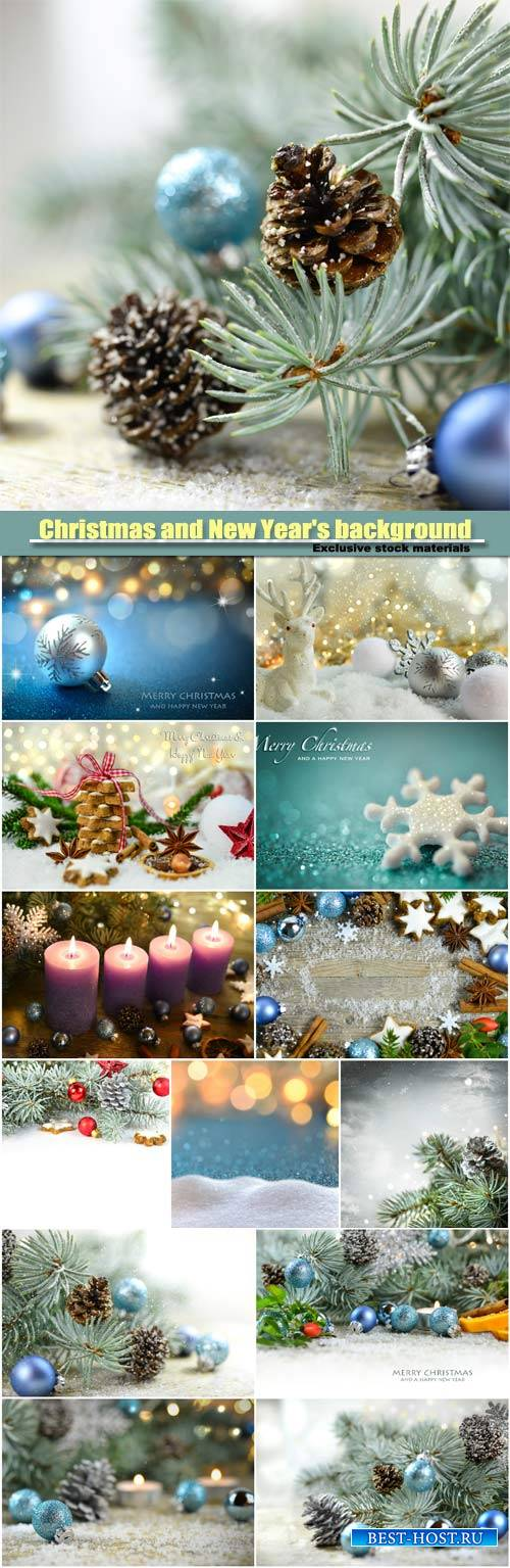 Christmas and New Year background, Christmas tree with pine cones and Chris ...