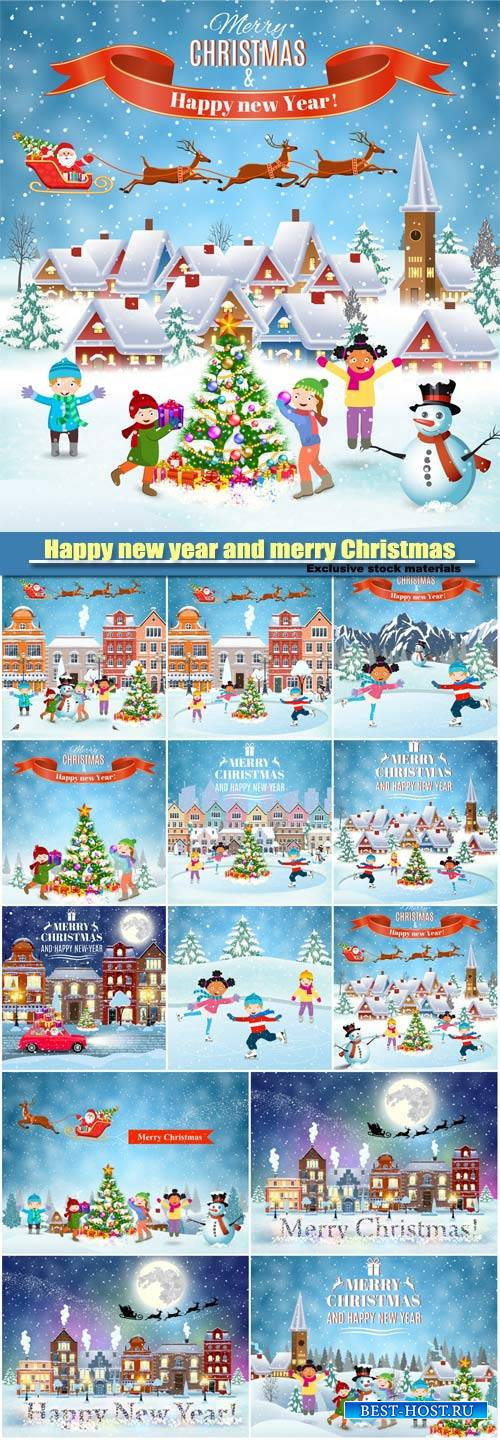 Happy new year and merry Christmas card design, winter fun kids decorating  ...