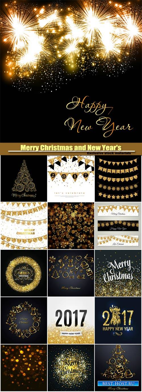 Merry Christmas and New Year's vector background, gold glitter design, sno ...