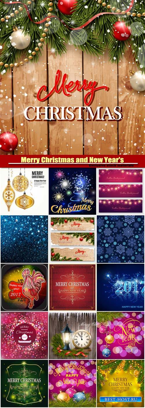 Merry Christmas and New Year's vector background, bokeh lights, rooster sy ...