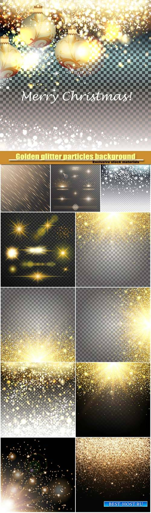 Golden and silver glitter particles background effect, luxury greeting card