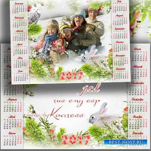 Календарь-рамка на 2017 год - Замела зима тропинки