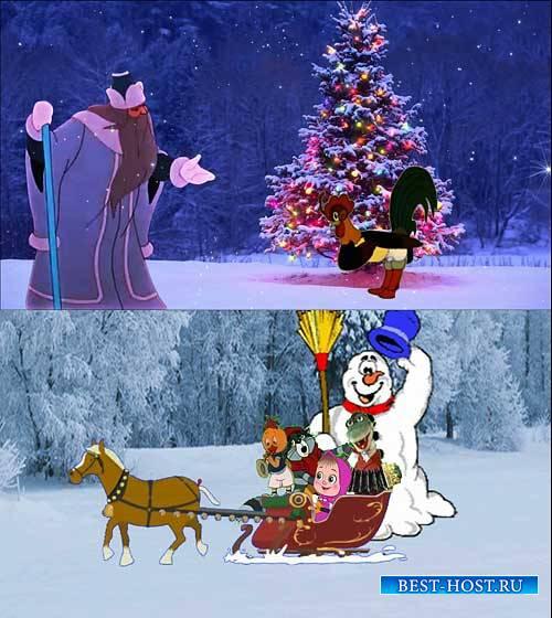 Футажи новогодние - Мы едим к вам на елку