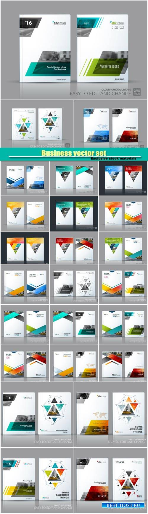 Business abstract creative vector set, brochure template layout