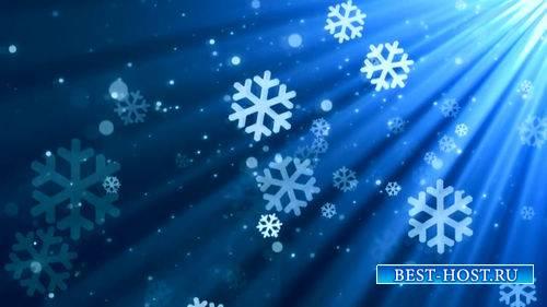 Футаж - Новогодние снежинки в лучах света