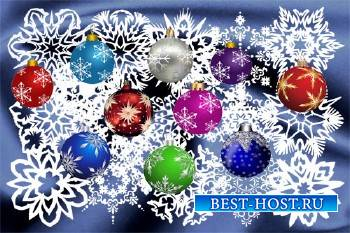 Клипарт Белые снежинки и шарики