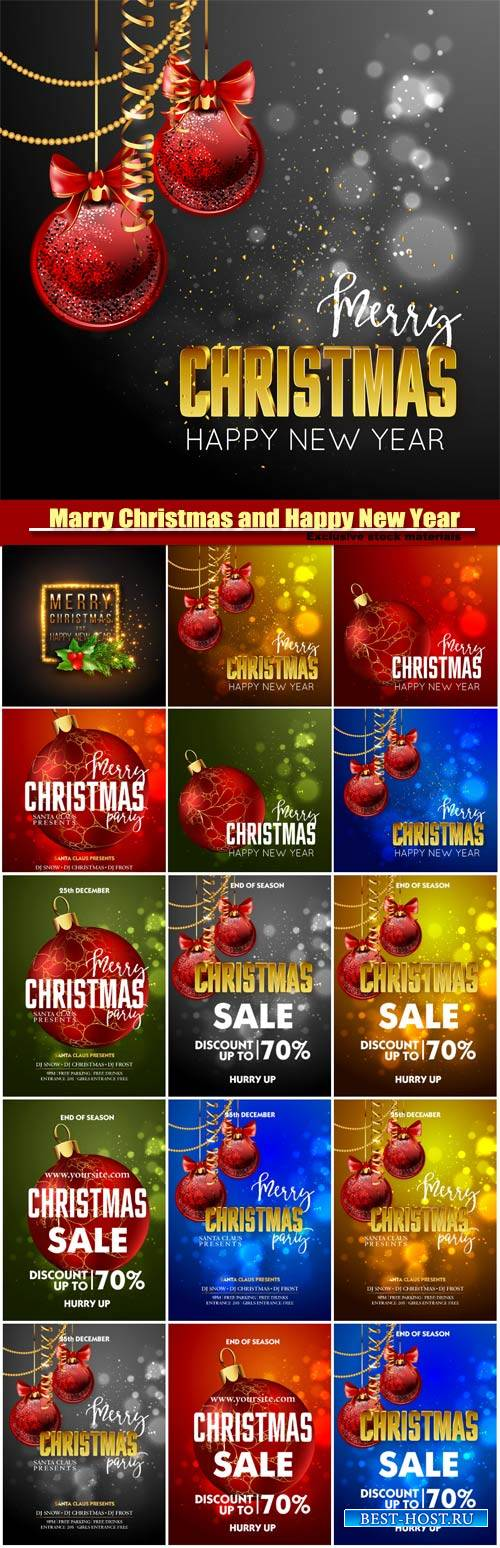 Marry Christmas and Happy New Year vector, Christmas Party design template  ...