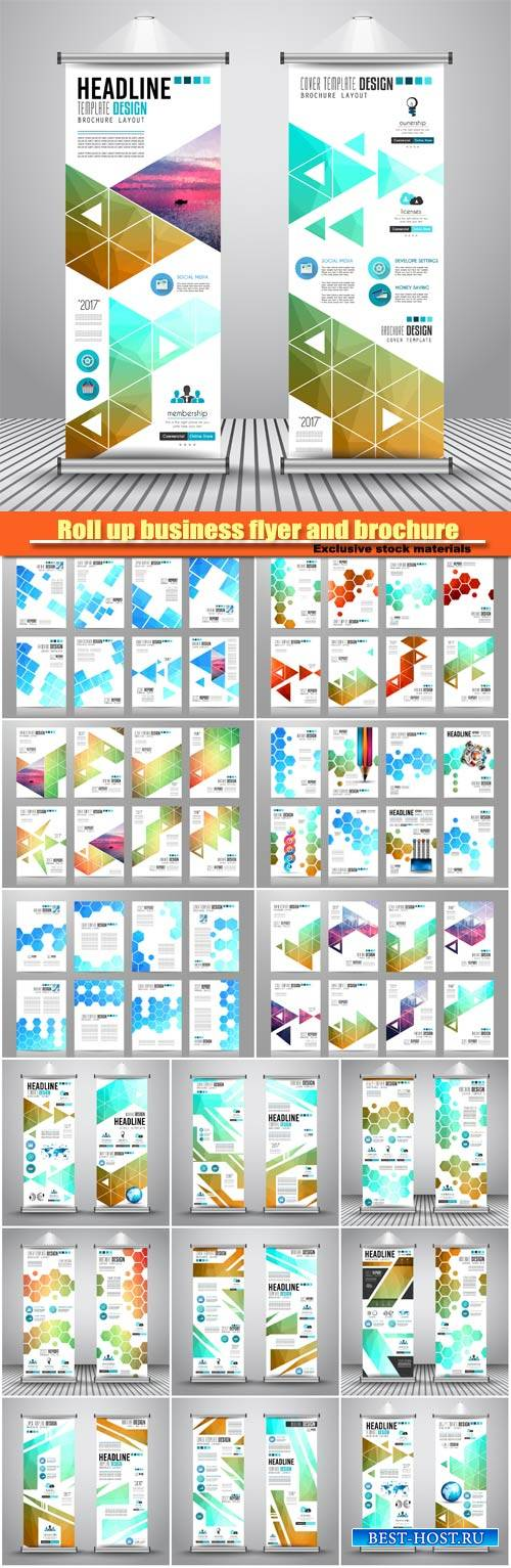 Roll up business flyer and brochure vector collection