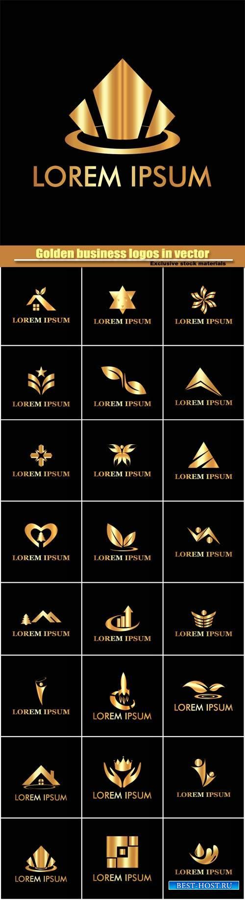 Stylish golden business logos in vector