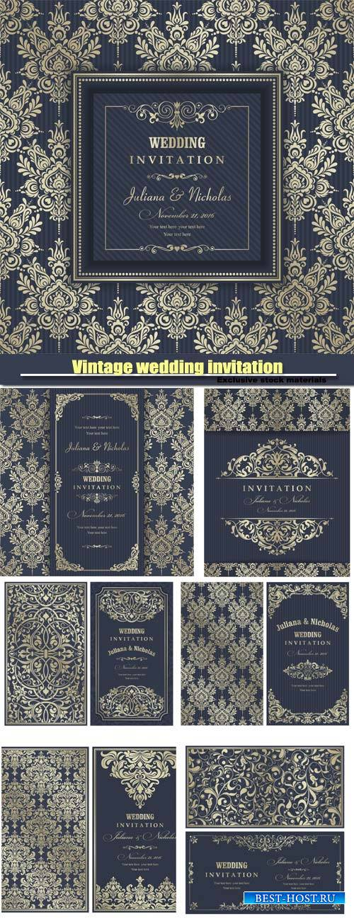 Vintage wedding invitation in the vector backgrounds with patterns