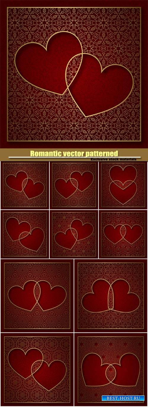 Romantic vector patterned background with  of two hearts