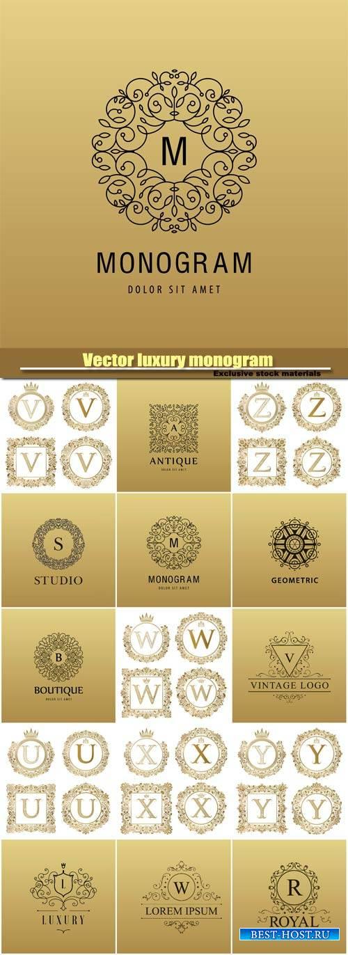 Vector luxury monogram, logo company icon, decorative golden letter